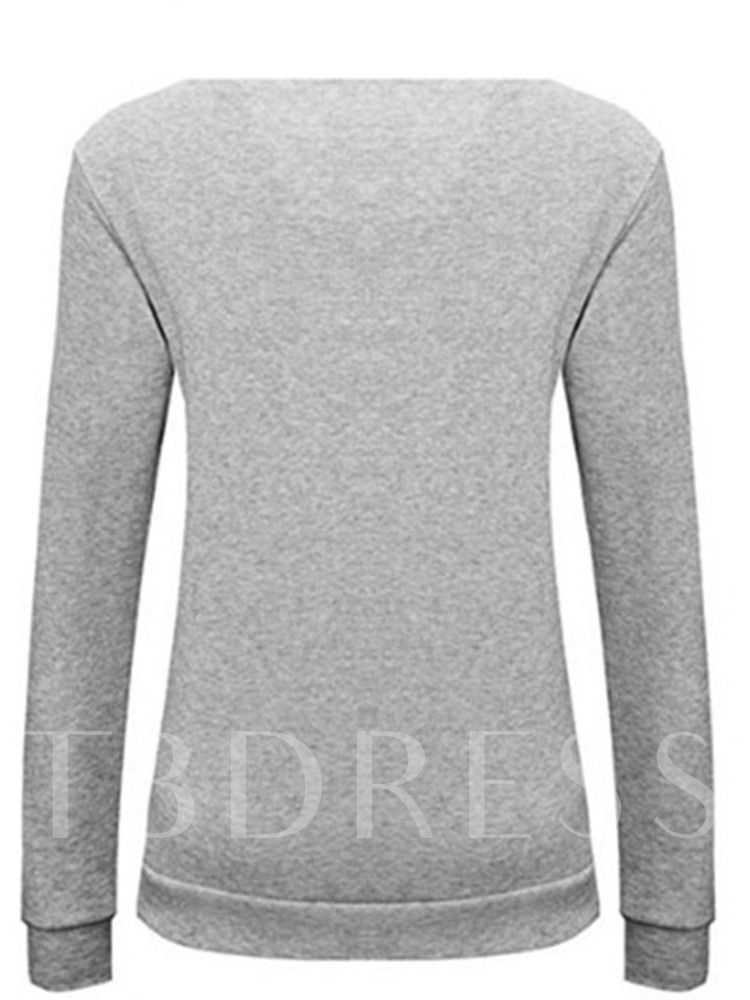 Letter Print Scoop Neck Pullover Women's Sweatshirt