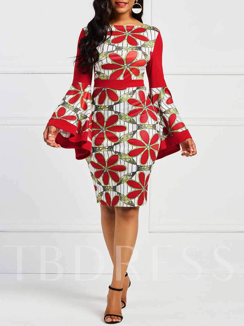 Floral Prints Bell Sleeve High Waist Bodycon Dress