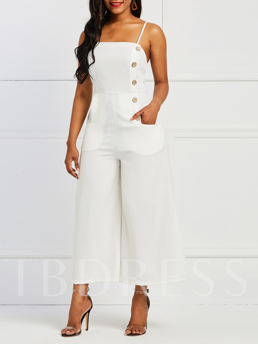 Mid-Calf Backless Casual Plain Wide Legs Women's Jumpsuits