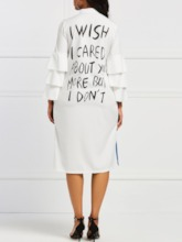 Falbala Stand Collar Long Sleeve Letter Women's Day Dress