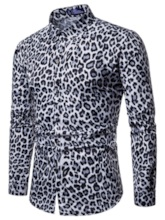 Lapel Casual Leopard Print Slim Men's Shirt