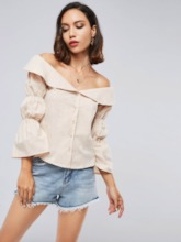 Off Shoulder Puff Sleeve Single-Breasted Women's Shirt