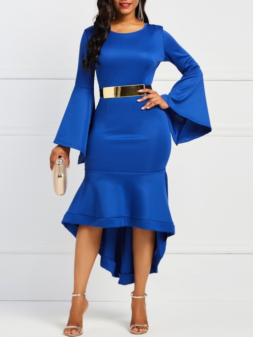 Asymmetrical Flare Sleeve Women's Bodycon Dress