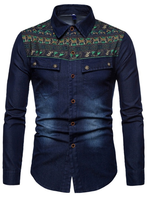 Lapel Casual Geometric Print Slim Men's Shirt