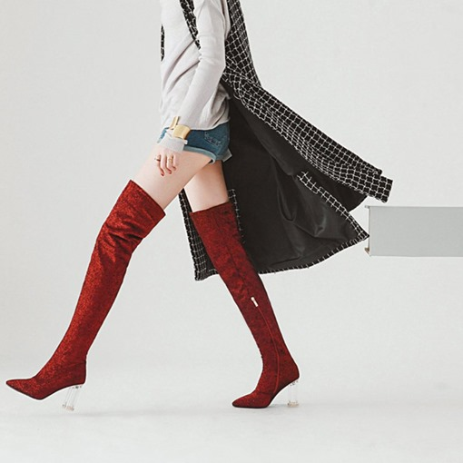 Pointed Toe Suede Side Zipper Chunky Heel Customized Tall Boots