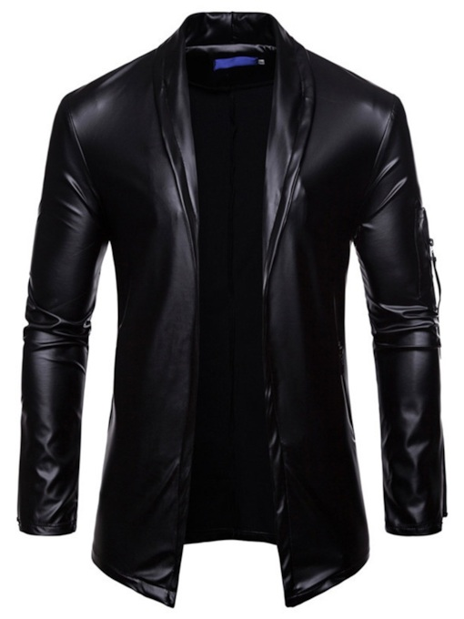 Lapel PU Plain Slim Men's Jacket