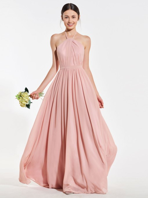 Halter Ruched Backless Long Bridesmaid Dress 2019