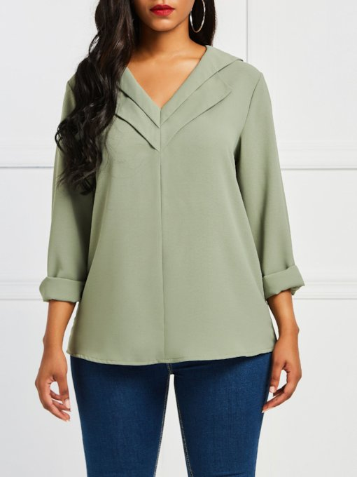 Plain V-Neck Loose Long Sleeve Women's Blouse