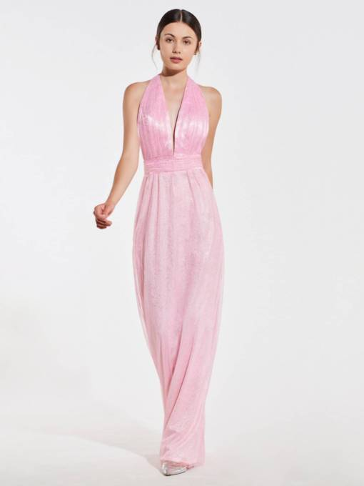Deep V-Neck Halter Backless Bridesmaid Dress