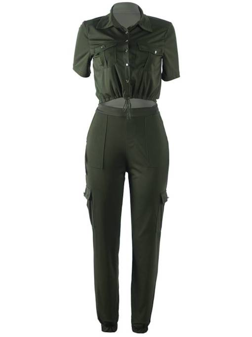 Single Breasted Pocket Shirt and Pants Women's Two Piece Set