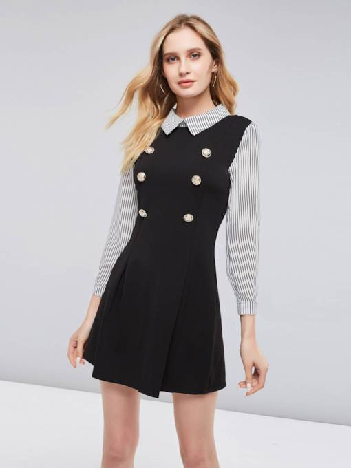 Lapel Striped Double-Breasted Women's Day Dress