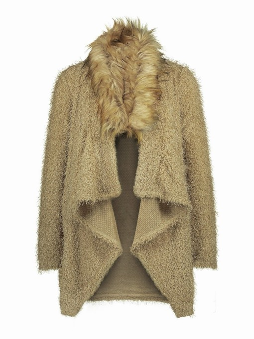 Faux Fur Patchwork Lapel Women's Trench Coat