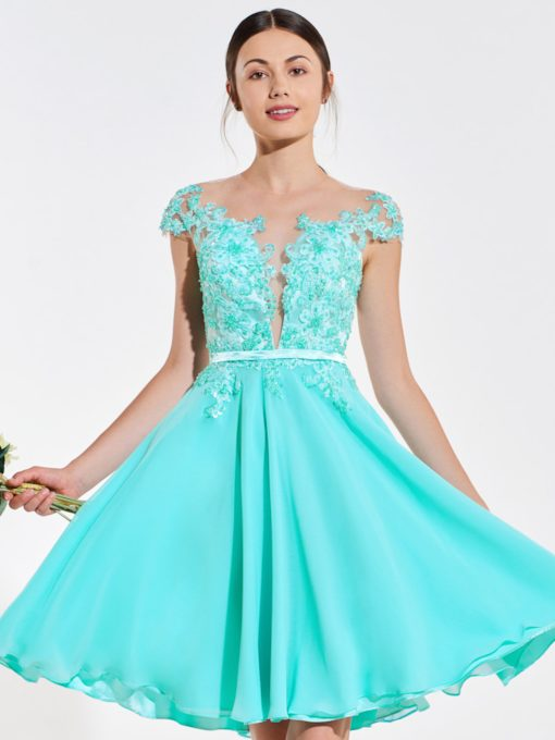 Illusion Neck Appliques Beading Short Bridesmaid Dress