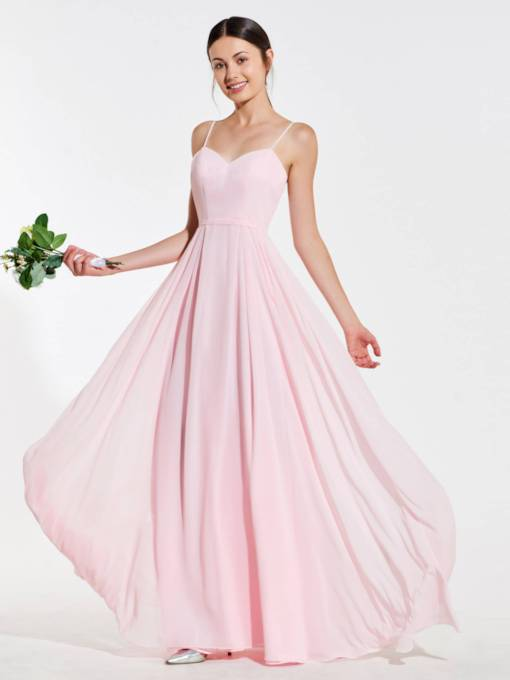 Spaghetti Straps Pink Bridesmaid Dress