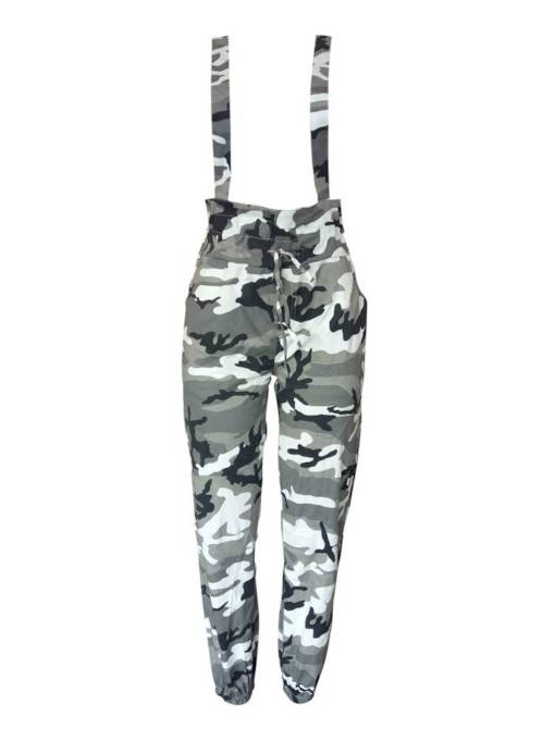 Camo Print Pocket Lace-Up Women's Jumpsuit