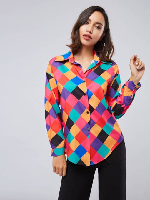 Single-Breasted Color Block Slim Fit Women's Shirt