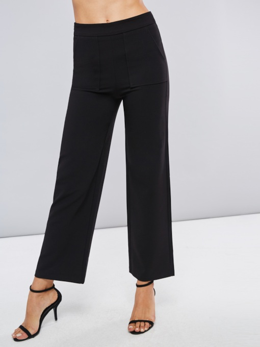 Double Big Pocket Wide Legs Women's Casual Pants