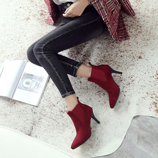 Pointed Toe Stiletto Heel Elastic Suede Classical Women's Ankle Boots