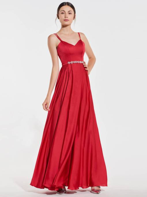 Spaghetti Straps Beaded Belt Long Bridesmaid Dress
