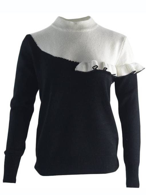 Plain Ruffle Color Block Pullover Women's Sweater