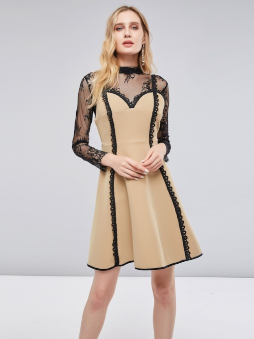 Khaki Lace Patchwork Women's Day Dress