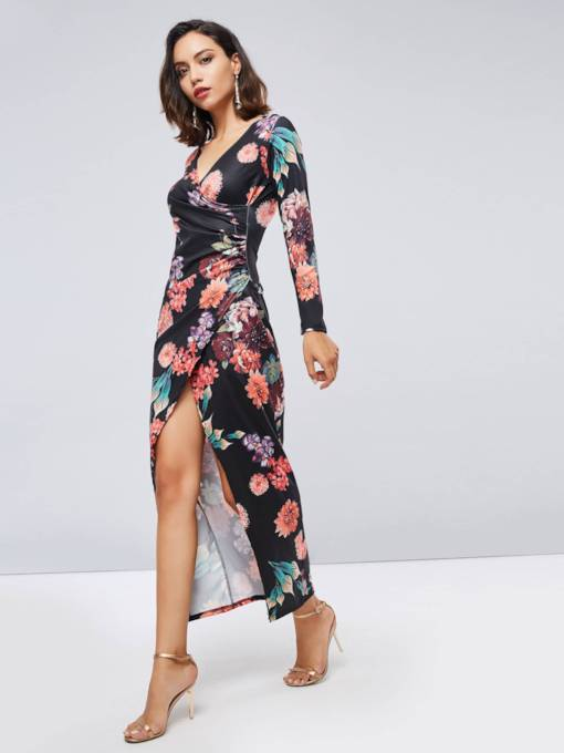Split Printing Long Sleeve Women's Maxi Dress