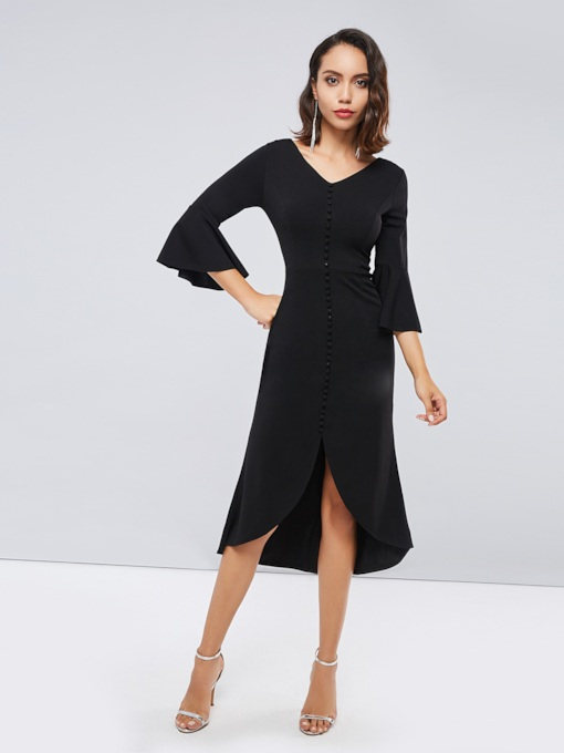 Bell Sleeve Black Women's Maxi Dress