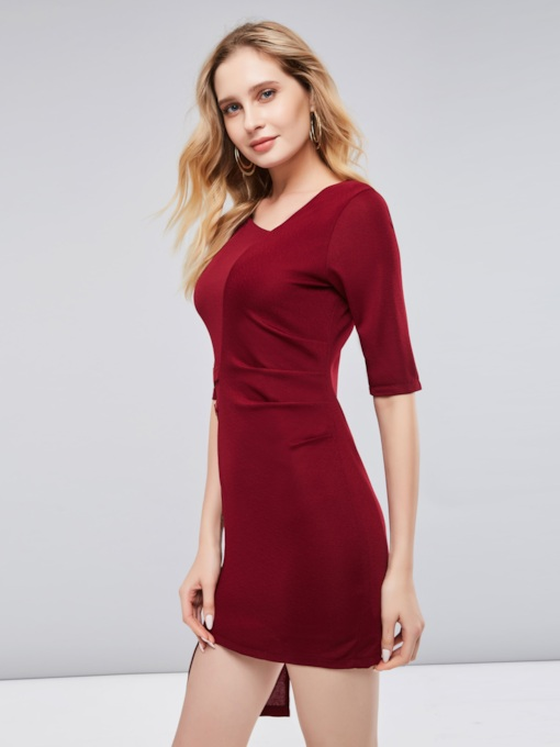 Christmas 3/4 Sleeve Asym Burgundy Women's Bodycon Dress