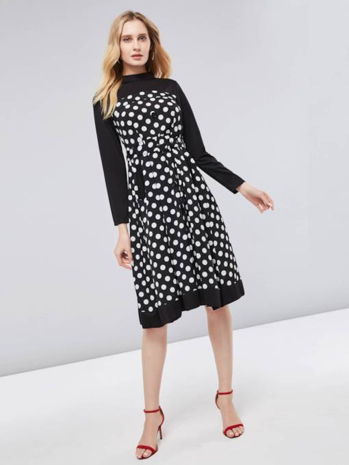 Polka Dots Lace up Women's Long Sleeve Dress