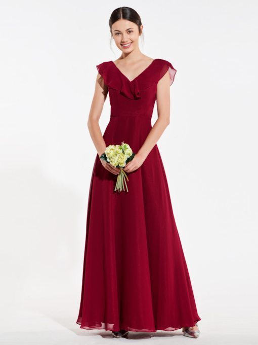 Cap Sleeve Backless Bridesmaid Dress