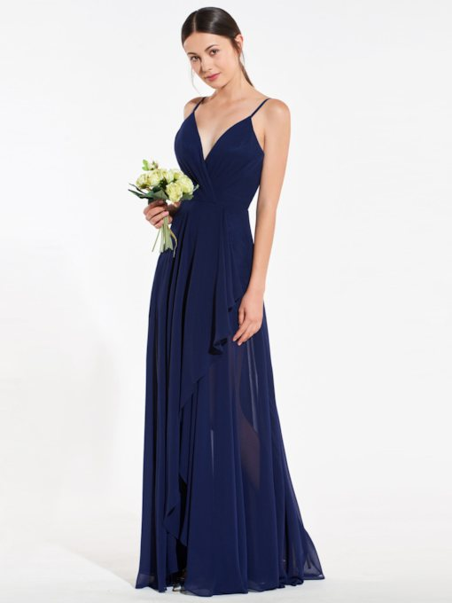 Spaghetti Straps Asymmetry Backless Bridesmaid Dress