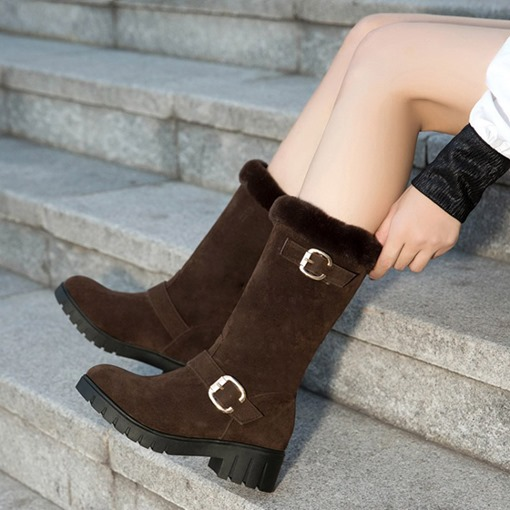 Slip-On Block Heel Round Toe Plush Trendy Women's Snow Boots
