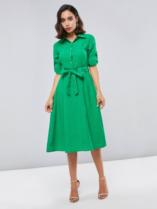 Green Single-Breasted Lapel Women's Day Dress