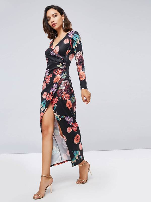 Split Printing Long Sleeve Womens Maxi Dress