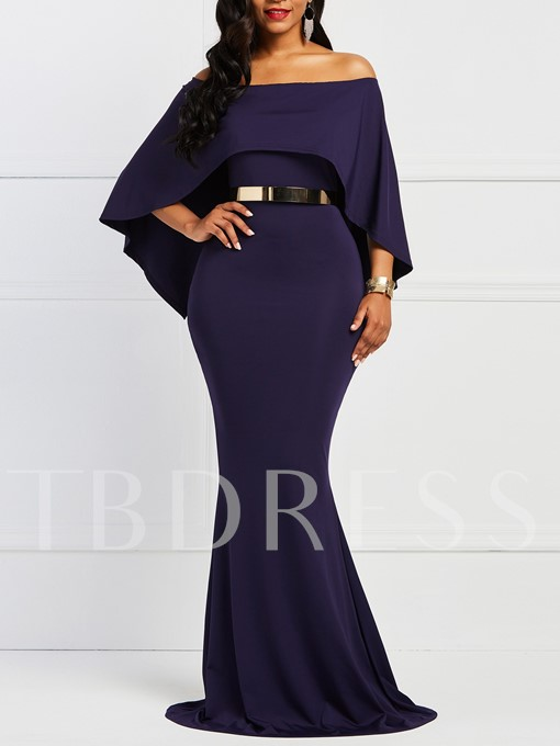 Western Bodycon Batwing Sleeve Women's Maxi Dress Without Belt