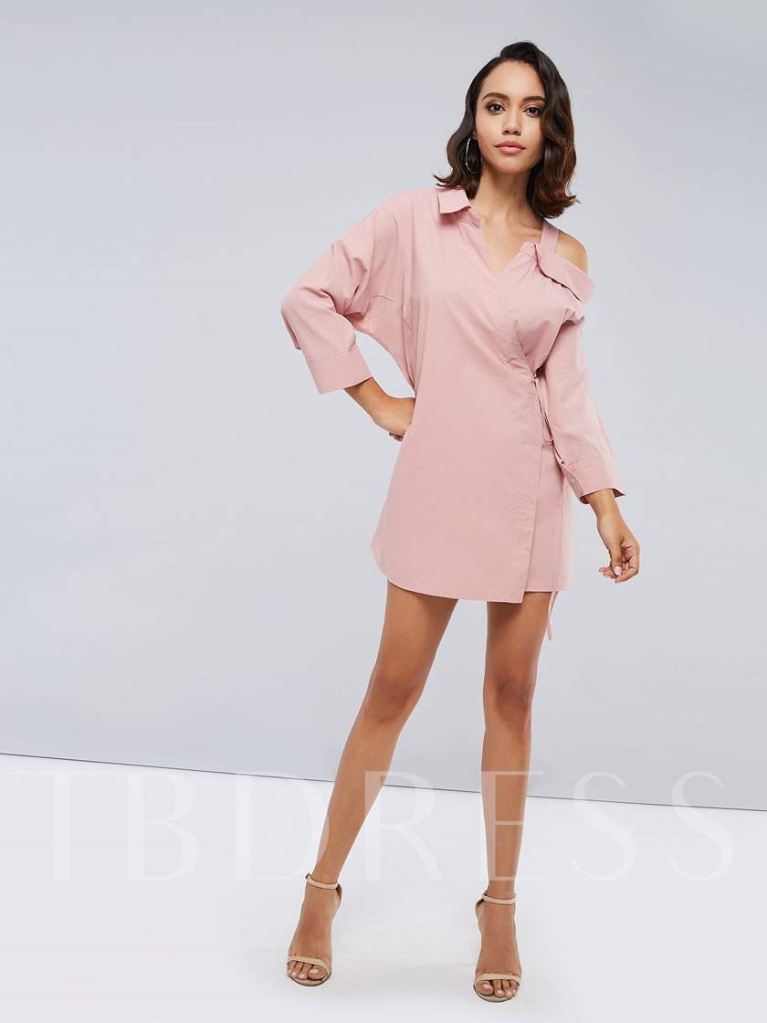 One Shoulder Lace up Women's Day Dress