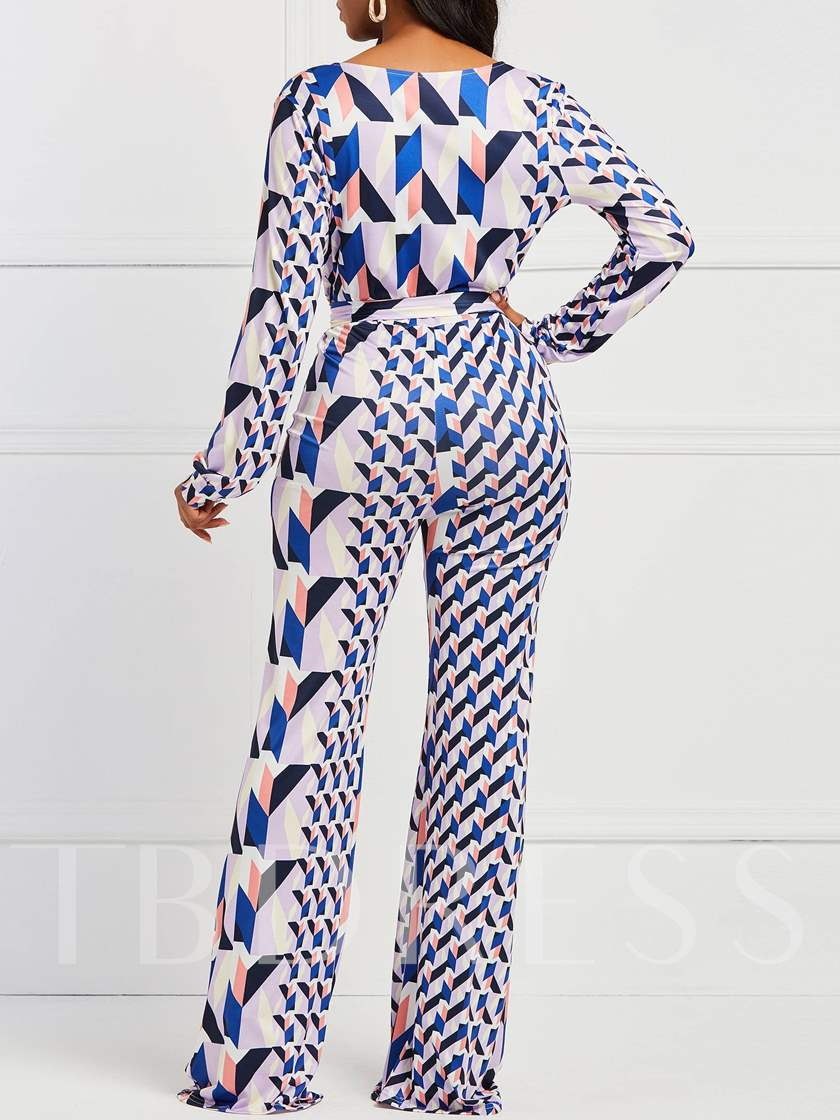 Color Block Lace-Up Full Length Sexy Slim Women's Jumpsuits