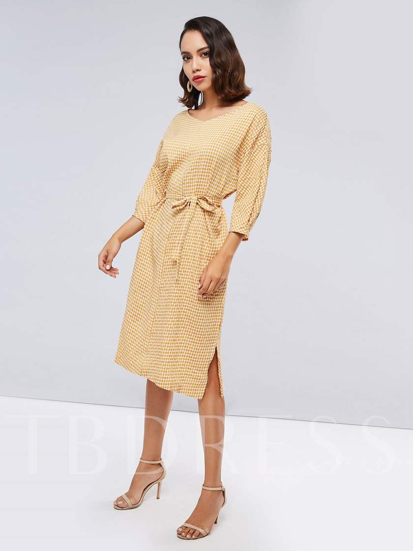 Yellow Plaid Long Sleeve Women's Day Dress