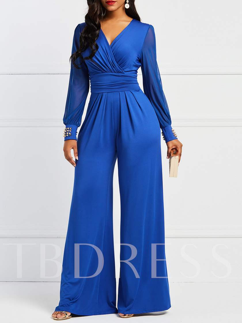 Full Length Pleated Plain Wide Legs Women's Jumpsuits