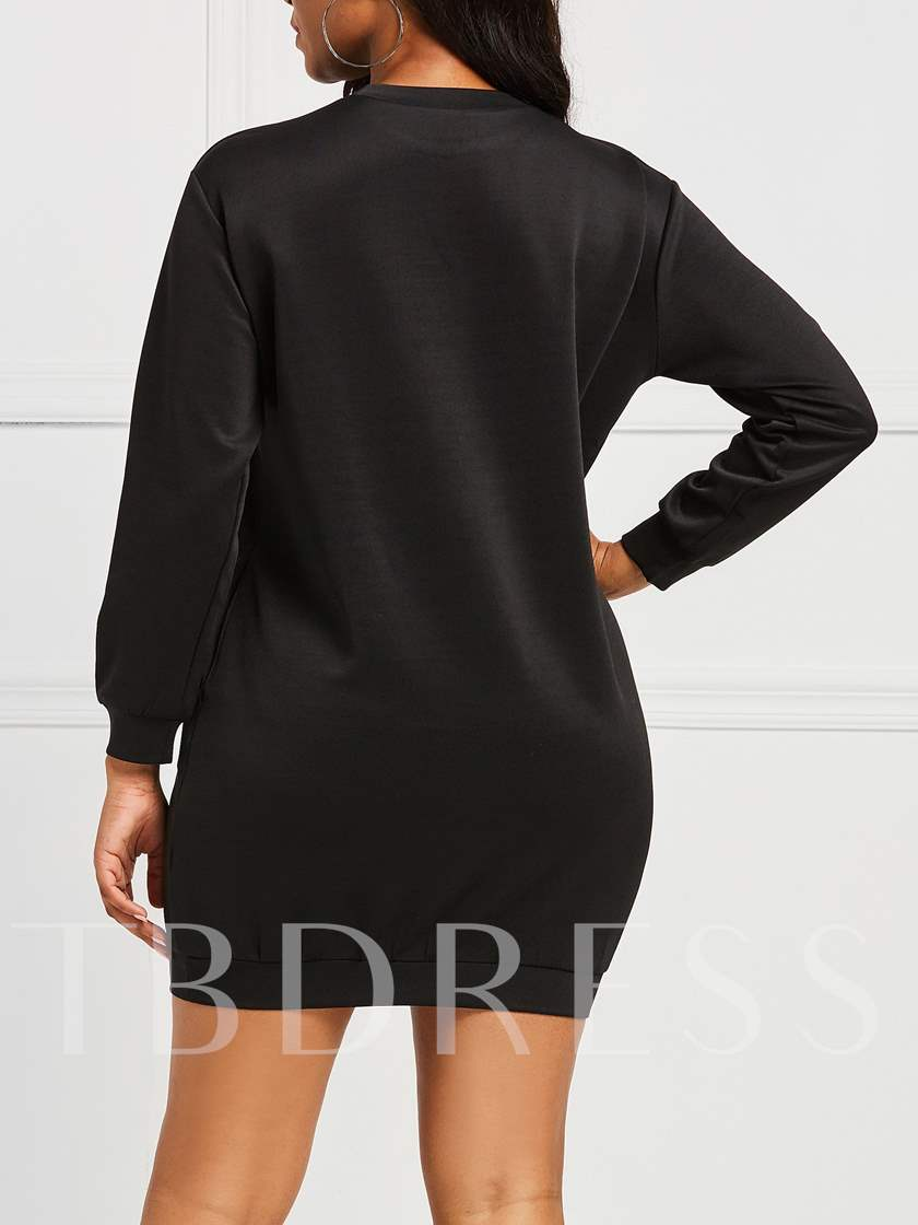 Long Sleeve Print Round Neck Pullover Women's Day Dress