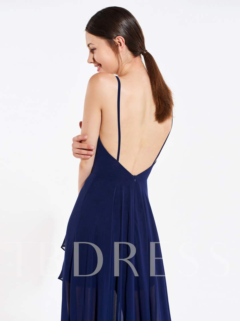 Spaghetti Straps Tiered Backless Bridesmaid Dress