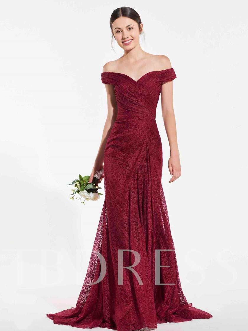 Off the Shoulder Mermaid Split-Front Lace Bridesmaid Dress