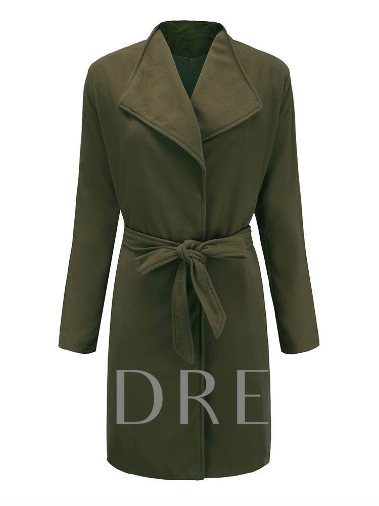 Army Green Lapel Lace Up Tight Waist Women's Overcoat