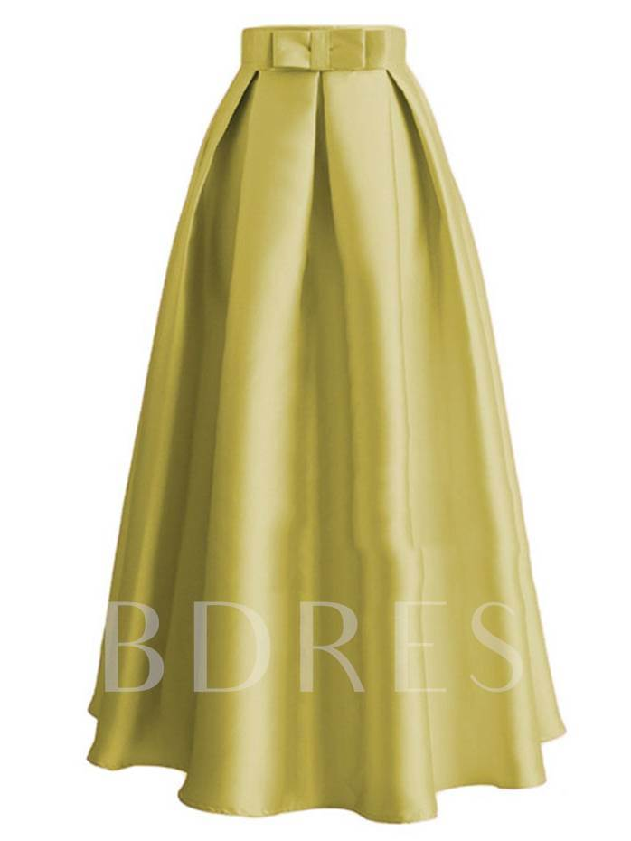 High Waist Bowknot Pleated Long Women's Maxi Skirt