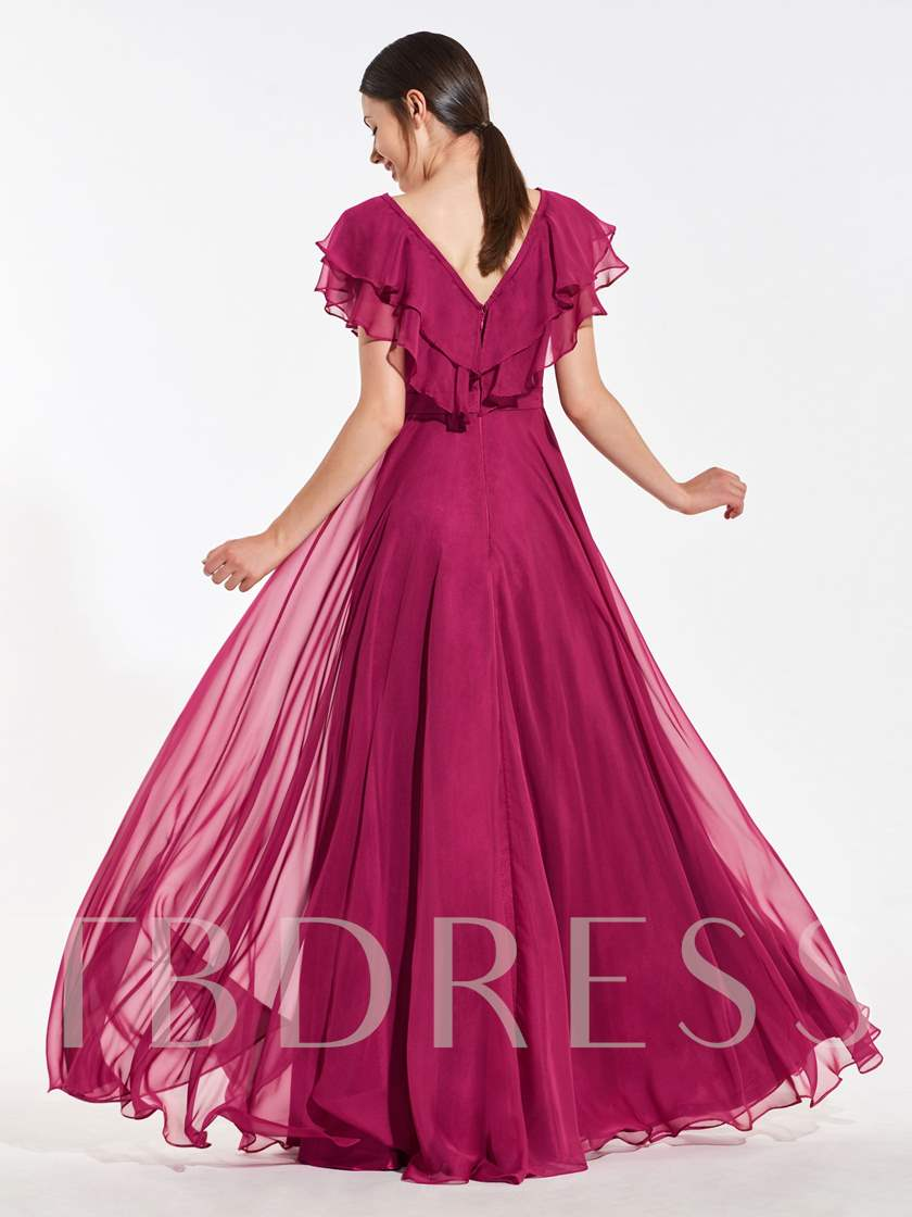 Two-Layer Ruffles Sleeves Bridesmaid Dress