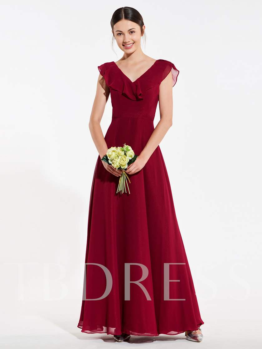Ruffles Cap Sleeve Backless Bridesmaid Dress