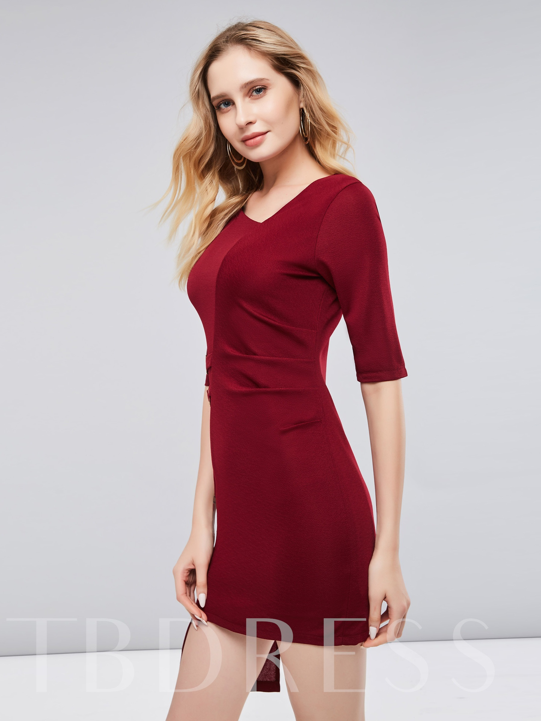 Buy 3/4 Sleeve Asym Burgundy Women's Bodycon Dress, 13404214 for $18.11 in TBDress store
