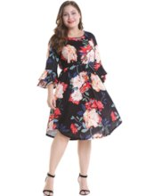Plus Size 3/4 Length Sleeves Falbala Women's Day Dress