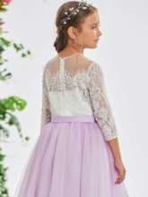 3/4 Length Sleeves Beading Lace Girl's Party Dress
