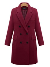 Notched Lapel Double-Breasted Women's Overcoat